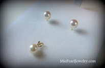 Pearl Stud Earrings and Pendant Bridal Jewelry Set