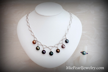 Tahitian Black Pearl Necklace and Ring