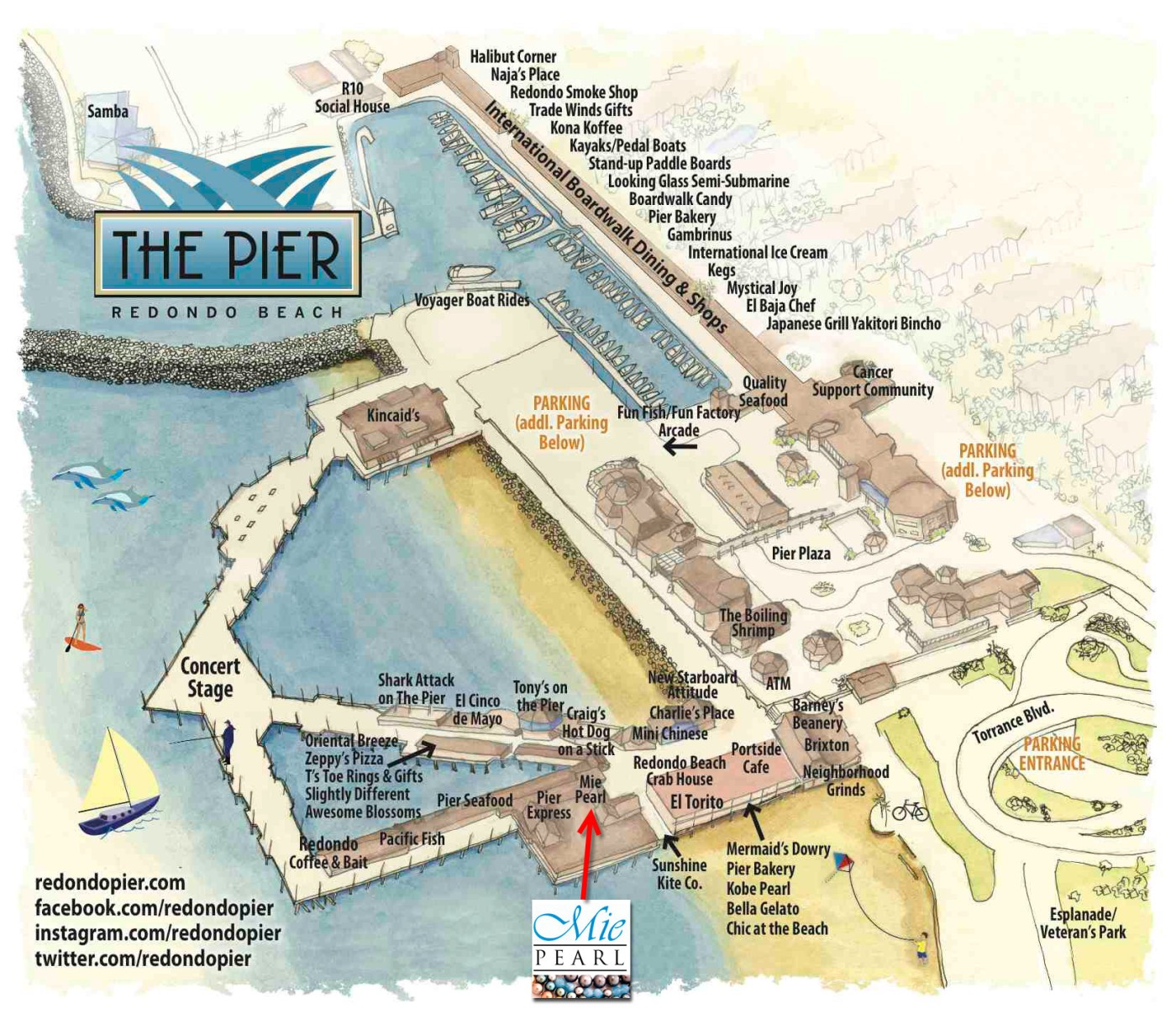 redondo beach pier map pearl necklaces and jewelry at the